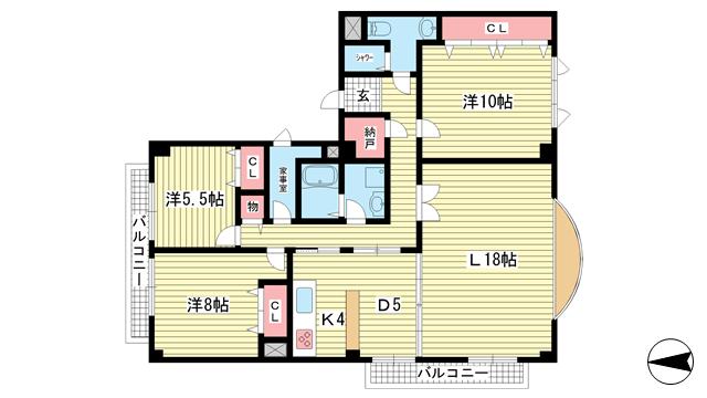 物件番号: 1025861985 フュゲハウス  神戸市中央区籠池通3丁目 3LDK マンション 間取り図