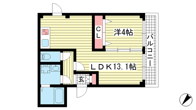 物件番号: 1025862154 アヴァンティ三宮  神戸市中央区二宮町2丁目 1LDK マンション 間取り図