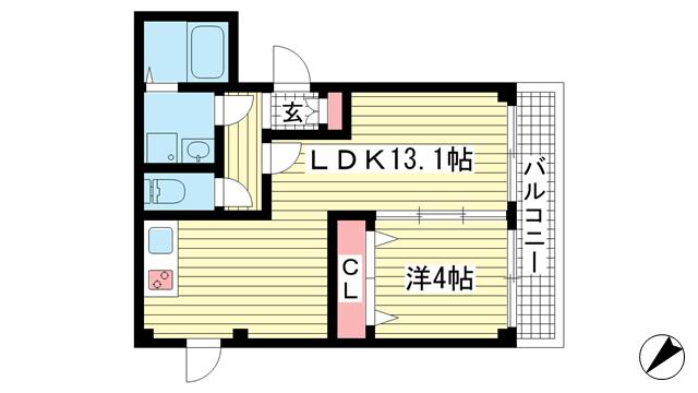 物件番号: 1025862155 アヴァンティ三宮  神戸市中央区二宮町2丁目 1LDK マンション 間取り図