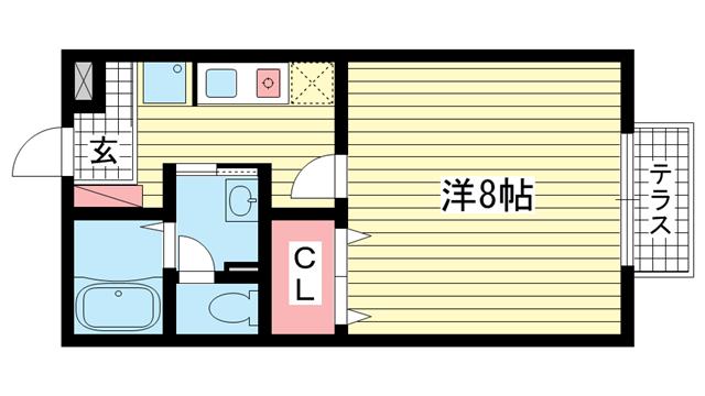 物件番号: 1025862386 セジュール赤坂  神戸市灘区赤坂通6丁目 1K ハイツ 間取り図