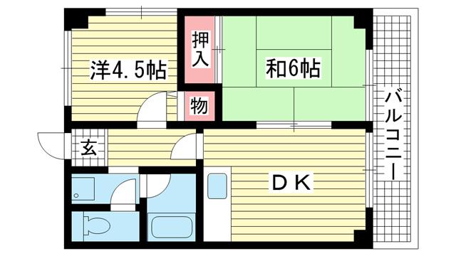 物件番号: 1025862472 ハイツ岡村  神戸市中央区八雲通3丁目 2LDK マンション 間取り図