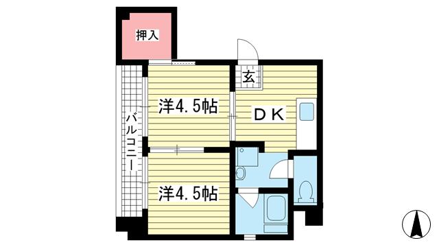 物件番号: 1025862597 山手マンション  神戸市中央区下山手通4丁目 2DK マンション 間取り図
