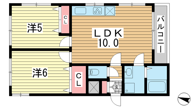 物件番号: 1025862662 コージコートPARTⅡ  神戸市中央区籠池通3丁目 2LDK マンション 間取り図