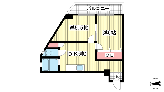 物件番号: 1025862671 三葉ハイツ  神戸市中央区山本通4丁目 2DK マンション 間取り図