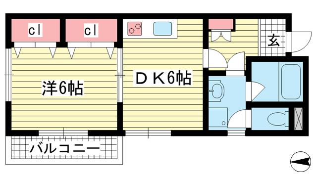 物件番号: 1025862812 パークコート六甲  神戸市灘区篠原中町6丁目 1DK マンション 間取り図
