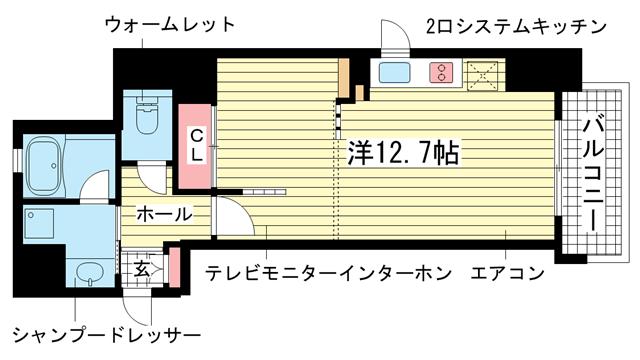 物件番号: 1025862854 インペリアル新神戸  神戸市中央区加納町2丁目 1R マンション 間取り図