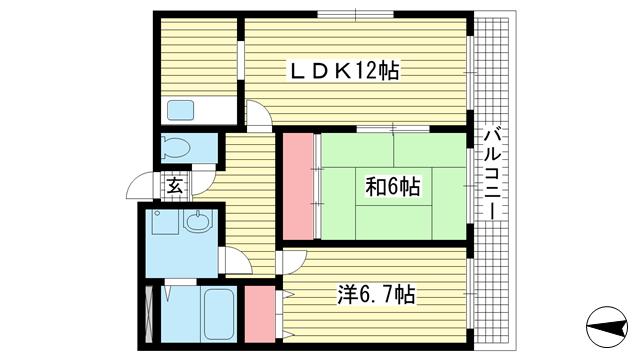 物件番号: 1025862871 フレーブフルール  神戸市中央区北本町通4丁目 2LDK マンション 間取り図
