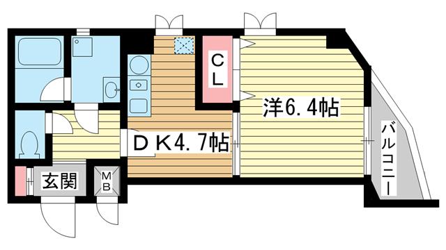 物件番号: 1025862982 ファゼンダ78  神戸市中央区熊内町2丁目 1K マンション 間取り図