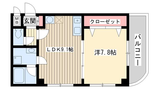 物件番号: 1025862983 ファゼンダ78  神戸市中央区熊内町2丁目 1LDK マンション 間取り図