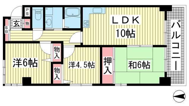 物件番号: 1025863065 エルネスト甲南山手  神戸市東灘区森北町5丁目 3LDK マンション 間取り図