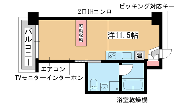 物件番号: 1025863291 PH-1  神戸市中央区旭通3丁目 1R マンション 間取り図