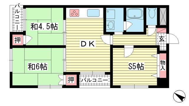 物件番号: 1025863316 メゾンドール元町  神戸市中央区元町通4丁目 2SDK マンション 間取り図