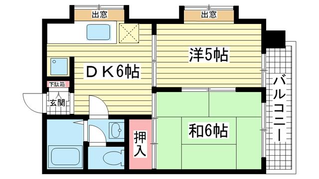 物件番号: 1025863338 信成ハイツ  神戸市兵庫区本町1丁目 2DK マンション 間取り図