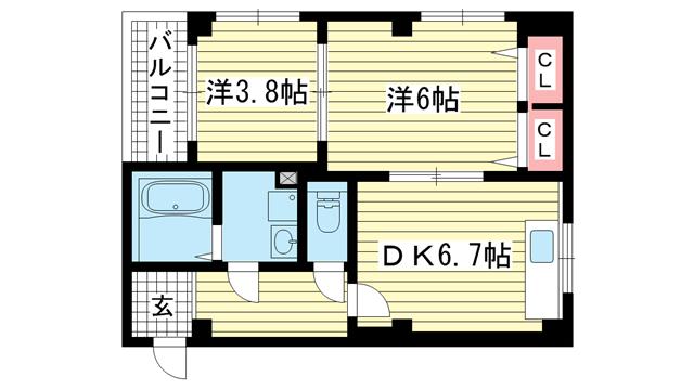 物件番号: 1025863380 プラネットハイツKOBEⅡ  神戸市兵庫区西柳原町 2DK マンション 間取り図