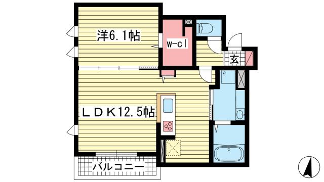 物件番号: 1025863534 KITANO COLN  神戸市中央区山本通2丁目 1LDK マンション 間取り図