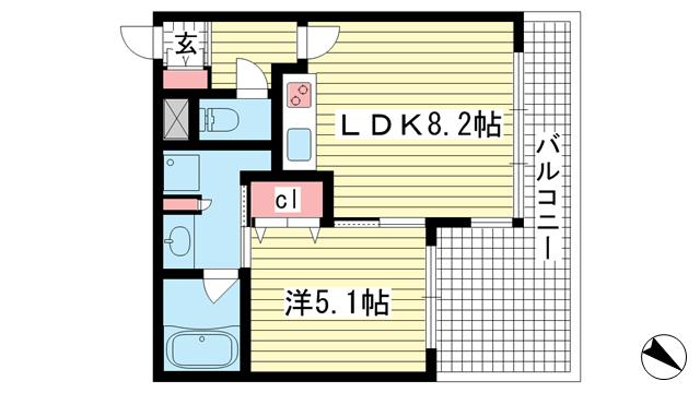 物件番号: 1025863607 ワコーレ神戸北野セリュックス  神戸市中央区加納町2丁目 1LDK マンション 間取り図