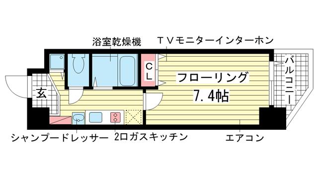 物件番号: 1025863611 プレサンス神戸駅前グランツ  神戸市中央区中町通3丁目 1K マンション 間取り図