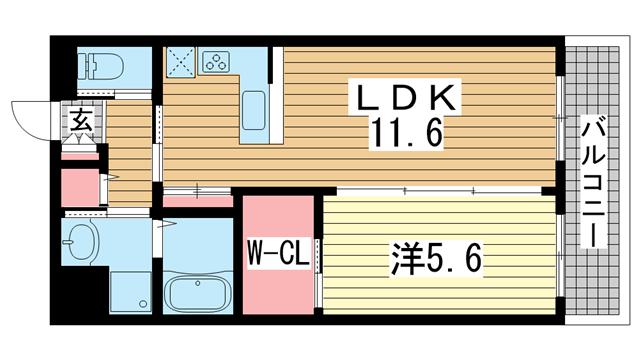 物件番号: 1025863646 グレイスガーデン  神戸市中央区日暮通4丁目 1LDK マンション 間取り図
