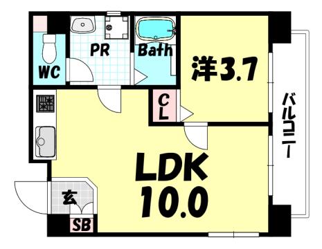 物件番号: 1025863652 花隈岩崎マンション  神戸市中央区花隈町 1LDK マンション 間取り図