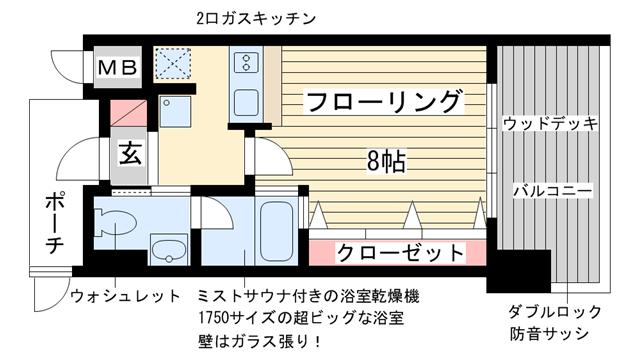 物件番号: 1025863664 WOB ROKKOHMICHI  神戸市灘区友田町3丁目 1K マンション 間取り図