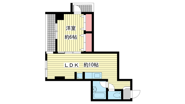 物件番号: 1025863694 シティライフ王子公園  神戸市灘区水道筋3丁目 1LDK マンション 間取り図