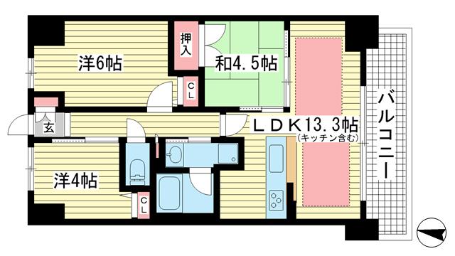 物件番号: 1025863713 リベールKOBE兵庫ジェネックス  神戸市兵庫区松原通5丁目 3LDK マンション 間取り図