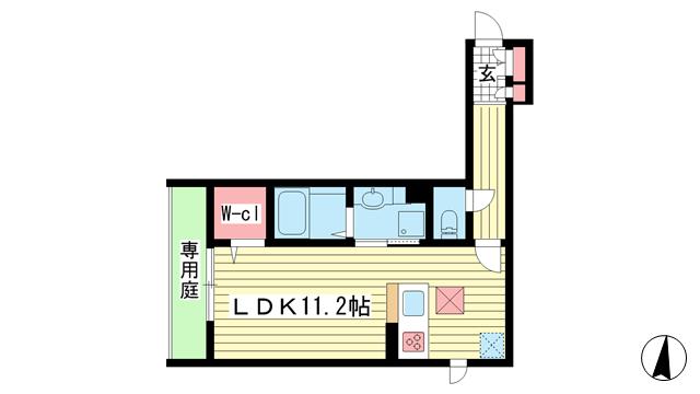 物件番号: 1025864019 テラコート北野坂  神戸市中央区北野町1丁目 1R マンション 間取り図