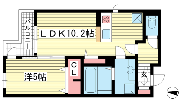 物件番号: 1025864045 テラコート北野坂  神戸市中央区北野町1丁目 1LDK マンション 間取り図