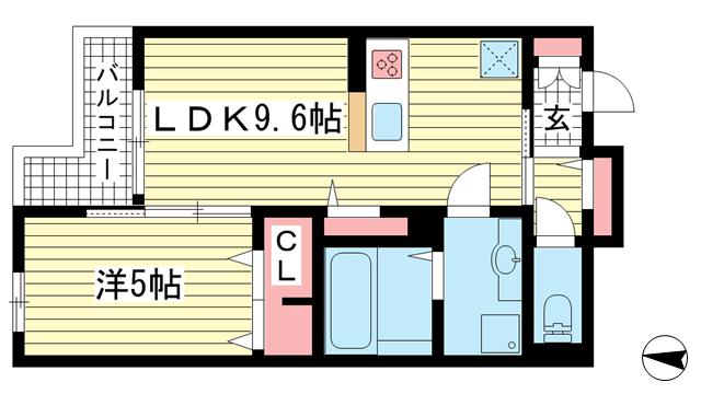 物件番号: 1025864048 テラコート北野坂  神戸市中央区北野町1丁目 1LDK マンション 間取り図