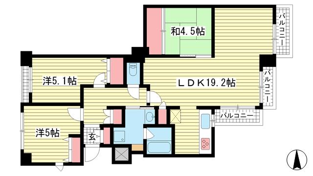 物件番号: 1025864257 藤和シティホームズ神戸花隈  神戸市中央区花隈町 3LDK マンション 間取り図