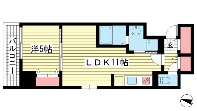物件番号: 1025864259 神戸ハーバーサイド 萬利レジデンス  神戸市中央区海岸通2丁目 1LDK マンション 間取り図