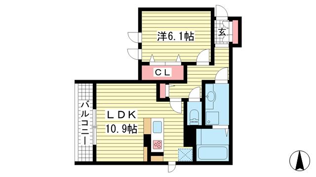 物件番号: 1025864269 テラコート北野坂  神戸市中央区北野町1丁目 1LDK マンション 間取り図
