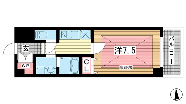 物件番号: 1025864603 SEA SIDE PALACE KOBE  神戸市中央区脇浜町3丁目 1K マンション 間取り図