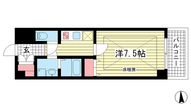 物件番号: 1025864643 SEA SIDE PALACE KOBE  神戸市中央区脇浜町3丁目 1K マンション 間取り図
