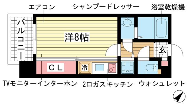 物件番号: 1025864868 アーデンタワー神戸元町  神戸市中央区元町通6丁目 1R マンション 間取り図