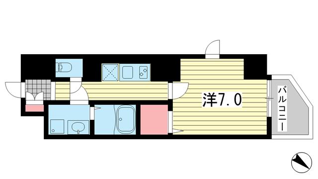 物件番号: 1025864914  神戸市中央区元町通4丁目 1K マンション 間取り図