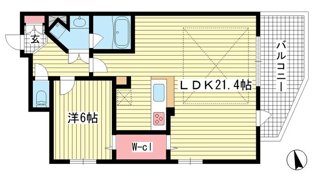 物件番号: 1025865044 ワコーレ神戸元町マークス  神戸市中央区栄町通6丁目 1LDK マンション 間取り図