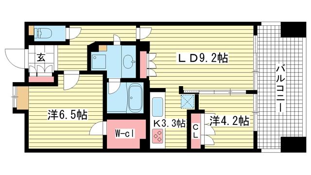 物件番号: 1025865048 アーバネックス三宮磯辺通  神戸市中央区磯辺通1丁目 2LDK マンション 間取り図