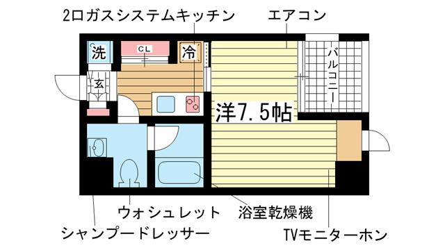 物件番号: 1025865073 リアンジェ兵庫本町  神戸市兵庫区本町1丁目 1K マンション 間取り図