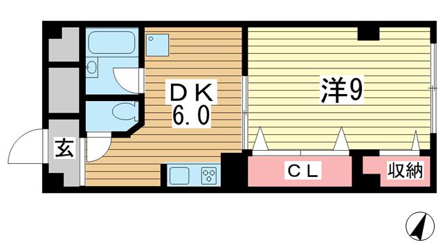 物件番号: 1025865391 ヤマウラ77ビル  神戸市中央区加納町2丁目 1DK マンション 間取り図