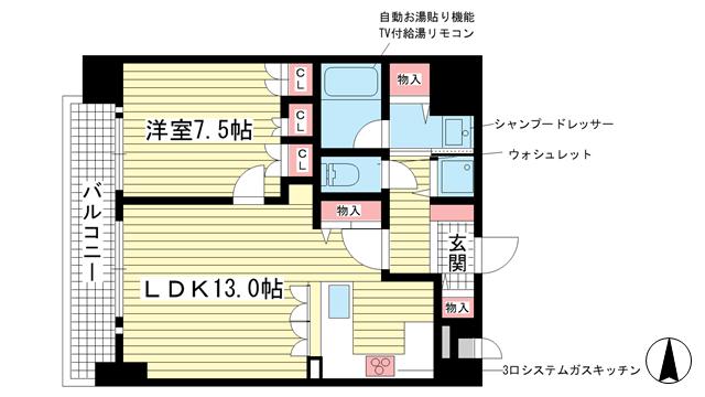 物件番号: 1025865407 リーガル神戸下山手  神戸市中央区下山手通3丁目 1LDK マンション 間取り図