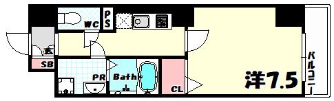 物件番号: 1025865458 アシストみなと元町  神戸市中央区元町通4丁目 1K マンション 間取り図
