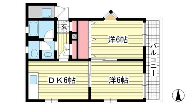 物件番号: 1025865572 マンション松本  神戸市中央区楠町2丁目 2DK マンション 間取り図