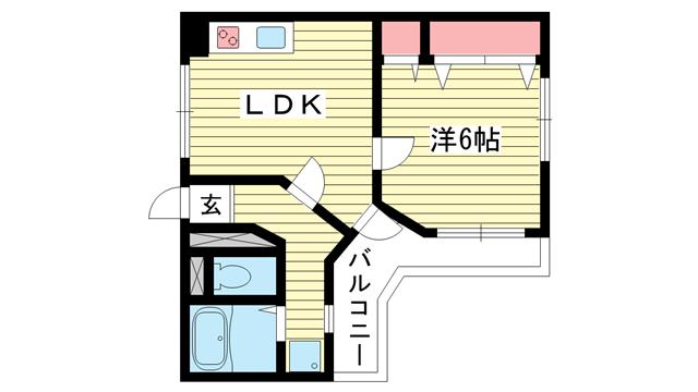 物件番号: 1025865608 ロイヤルメゾン東須磨  神戸市須磨区鷹取町3丁目 1LDK マンション 間取り図