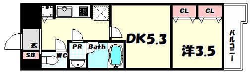 物件番号: 1025865620 LAV☆神戸三宮  神戸市中央区浜辺通4丁目 1LDK マンション 間取り図