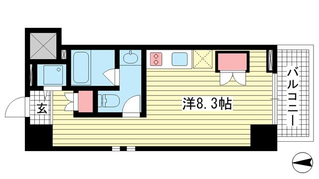 物件番号: 1025865720 Vista Grande Higashinada  神戸市東灘区深江北町4丁目 1R マンション 間取り図