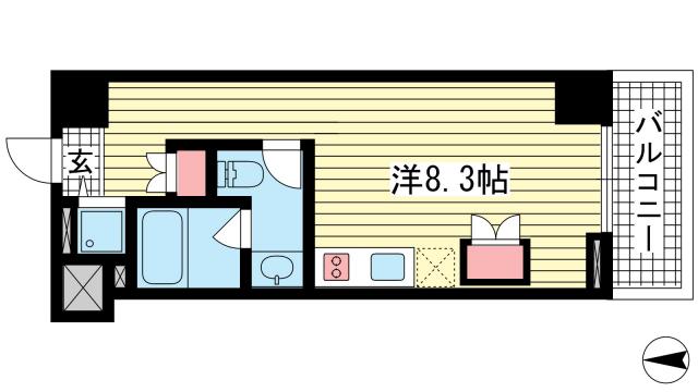 物件番号: 1025865726 Vista Grande Higashinada  神戸市東灘区深江北町4丁目 1R マンション 間取り図