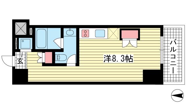 物件番号: 1025865734 Vista Grande Higashinada  神戸市東灘区深江北町4丁目 1R マンション 間取り図