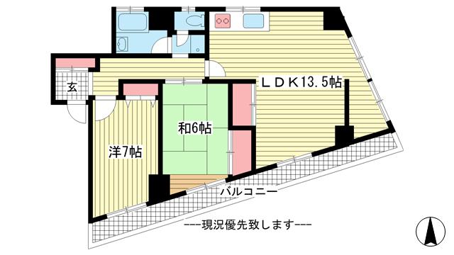 物件番号: 1025865746 鯉川マンション  神戸市中央区下山手通4丁目 3LDK マンション 間取り図