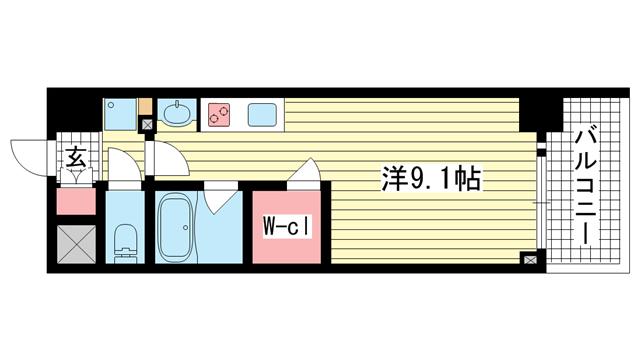 物件番号: 1025865806 アスヴェル神戸駅前  神戸市中央区古湊通2丁目 1R マンション 間取り図